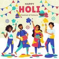 Menschen feiern Holi Festival vektor