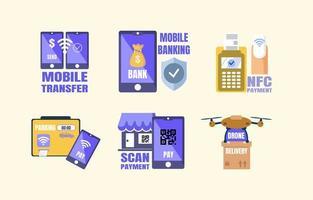 Aufkleber für kontaktlose Zahlungstechnologie vektor