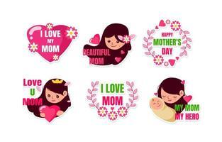 glücklicher Muttertagsaufkleber vektor