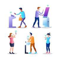 Design der menschlichen Charaktere der kontaktlosen Technologie vektor