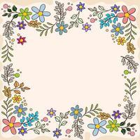 bunter flacher Frühlingsblumenrahmen vektor