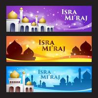 islamische isra mi'raj bannerset vektor