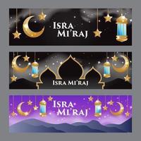moderne islamische isra miraj bannerset vektor