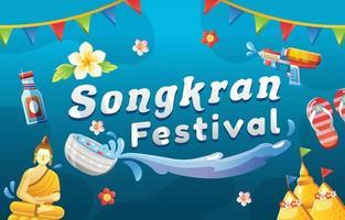 Songkran Water Splashing Festival Hintergrund vektor