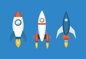 Raketensymbol über blauem Hintergrunddesign eingestellt vektor