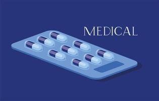 medizinische Pillen Drogen Ikone Vektor-Illustration vektor