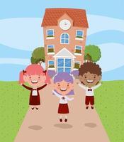 skolbyggnad med interracial barn