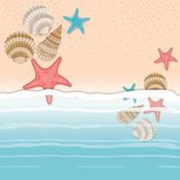 Muschel und Stern im Sanddesign vektor