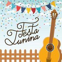 festa junina med staket och gitarr vektor