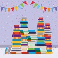 grupp böcker och vimpeldesign