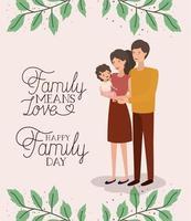 Familientageskarte mit Eltern und Tochter vektor