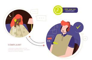 24-Stunden-Kundenbeschwerde zur flachen Illustration des Call-Center-Vektors