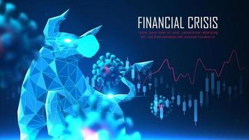 Finanzkrisenkonzept mit Bullen- und Coronavirus-Design vektor