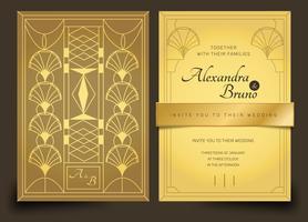 Guld Lyx Art Deco Bröllopsinbjudan Vektor Mall Pack