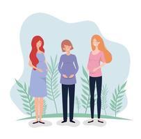 söta gravida kvinnor vektor