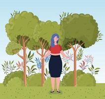 ung kvinna utomhus vektor