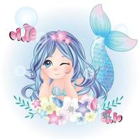 niedliche Meerjungfrau mit Aquarellillustration vektor