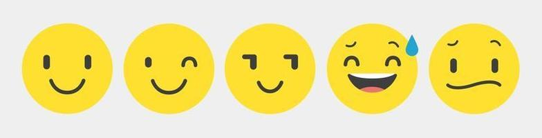 Design Reaktion Emoticon Sammlung Set - Vektor