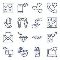 förpackning med alla hjärtans dag färgade linje ikoner vektor