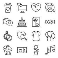paket med kärlek och alla hjärtans ikoner vektor