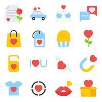 förpackning med alla hjärtans dag platta ikoner vektor