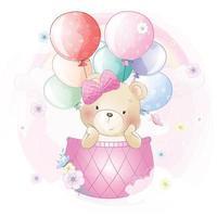niedlicher Bär, der in der Heißluftballonillustration fliegt vektor