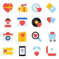 paket med kärlek platta ikoner vektor