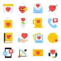 förpackning med alla hjärtans platta ikoner vektor