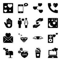 förpackning med alla hjärtans dag fasta ikoner vektor