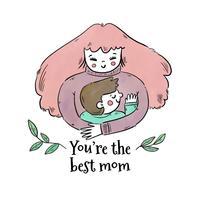 Nette Mutter, die einen kleinen Jungen mit Blättern und Zitat umarmt