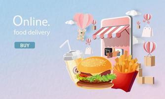 Online-Fast-Food-Lieferung mit Smartphone-Vektor-Illustration vektor