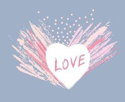 kärlek hjärta kalligrafiska handritad tecken. alla hjärtans dag ikon bakgrund. gratulationskort design vektor