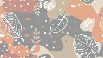 abstrakta blotting, blommiga former och lämnar sömlösa mönster i trendig designstil. snygg bakgrund med prickar och flytande flytande former. vektor