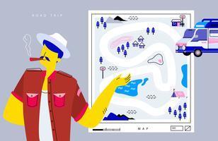 Kühle Abenteurer-Mann-Anfangsreise mit Straßenkarten-Anleitungs-Vektor-flacher Illustration