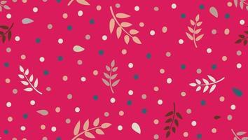 Blumenmuster mit Blättern und Punkten im minimalistischen kindlichen Stil. abstrakter nahtloser festlicher Hintergrund. blühender Ziergarten mit Tupfenverzierung. vektor