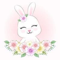 süßes kleines Kaninchen und Blumen vektor