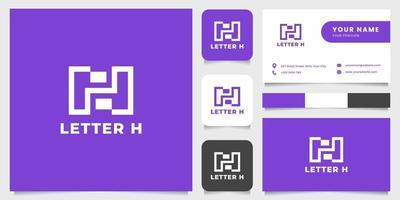 einfaches und minimalistisches Buchstabe h Logo mit Visitenkartenschablone vektor