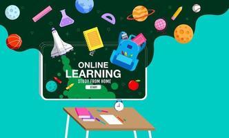 Online-Lernen, Lernen von zu Hause aus, soziale Distanzierung, Schulanfang, flacher Designvektor. vektor