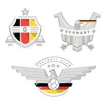 Vintage solider gefütterter deutscher Logo-Fußball-Flecken-Vektor vektor