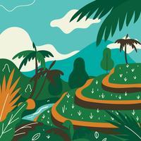 Tropisk Landskap Terasering Paddy FIELD Ubud Vector
