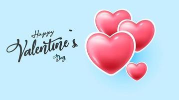 Happy Valentinstag Banner mit Herzen vektor