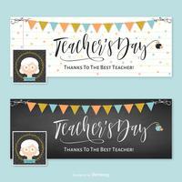 Lärare Facebook Cover Vector Template Set