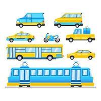 moderne Stadttransportvektorillustrationssammlung vektor