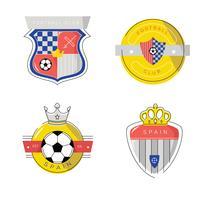 Tappning Spaniensisk Fotbollspatchlogo Platt Vector Illustration