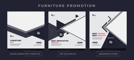 uppsättning redigerbara möbler marknadsföring sociala medier postmallar. vektor