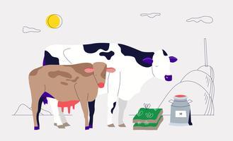 Färska mjölk från nötkreatursgård Vector Illustration