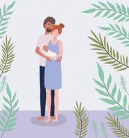interracial föräldrar som tar hand om nyfött barn med löv vektor