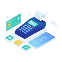 NFC-Zahlungsvektor isometrischer Stil vektor