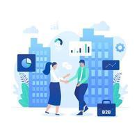 Business-to-Business-Marketing-Vektor-Illustrationskonzept. vektor