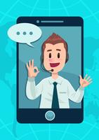 Telefon-Kundendienst-Charakter vektor